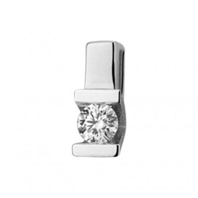 Edelsteen hanger met diamant 14 krt witgoud
