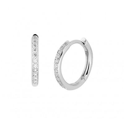 Edelsteen klapcreolen diamant in het 14-karaat witgoud
