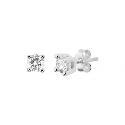 Edelsteen oorbellen met diamant gemaakt van witgoud