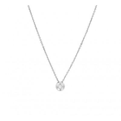 Ketting met edelsteen diamant in het 14 krt witgoud