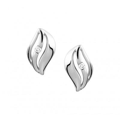 Mooie oorknoppen met diamant van witgoud 10 mm hoog