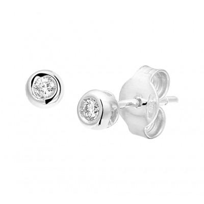Mooie oorknoppen zilverkleurig met echte diamantjes