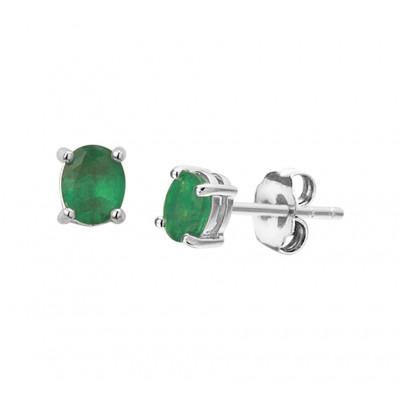 Oorknopjes met edelsteen smaragd 5 mm