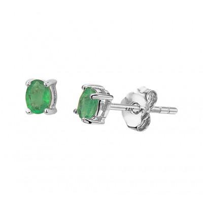 Oorknopjes met edelsteen smaragd