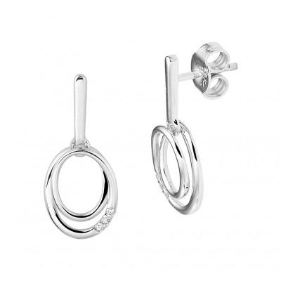 Ovale witgouden oorhangers met diamant rij