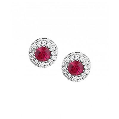 Robijn oorbellen van witgoud met diamanten