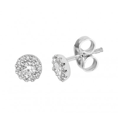 Ronde witgouden oorknoppen met diamant