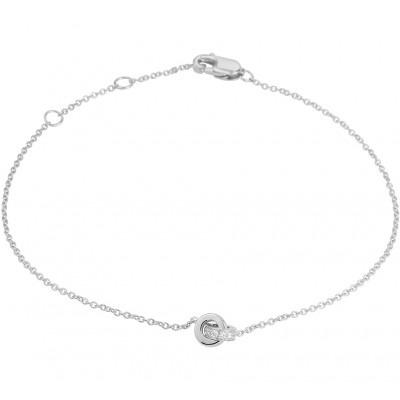 Witgouden edelsteen armband met diamant steen