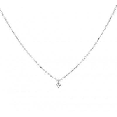 Witgouden edelsteen ketting diamant