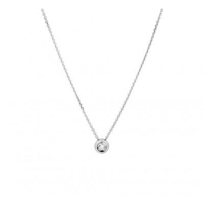 Witgouden edelsteen ketting met diamant