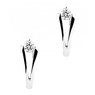 Zilverkleurige Oorknoppen met diamant