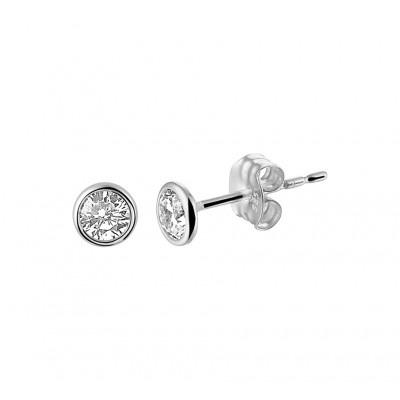 Zirkonia oorbellen witgoud 4 mm