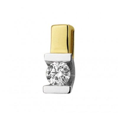 Bicolor edelstenen hanger uitgevoerd met diamant
