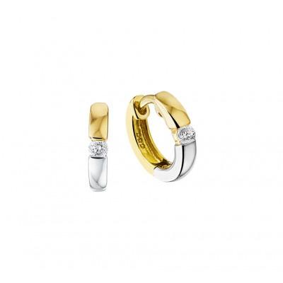 Bicolor gouden oorbellen met zirkonias