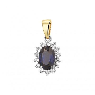 Bicolor hanger met saffier en diamanten
