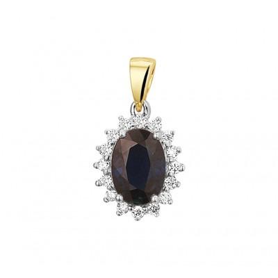Bicolor saffier hanger met diamanten