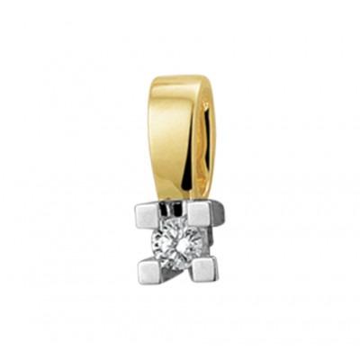 Edelsteen hanger met diamant 14-karaat bicolor