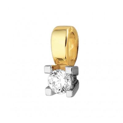 Edelsteen hanger met diamant bicolor