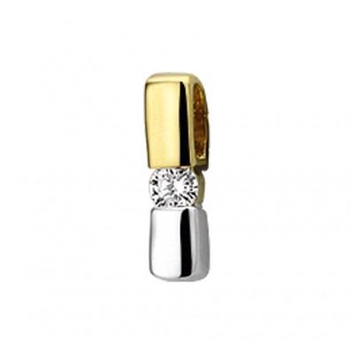 Edelstenen hanger met diamant in het bicolor