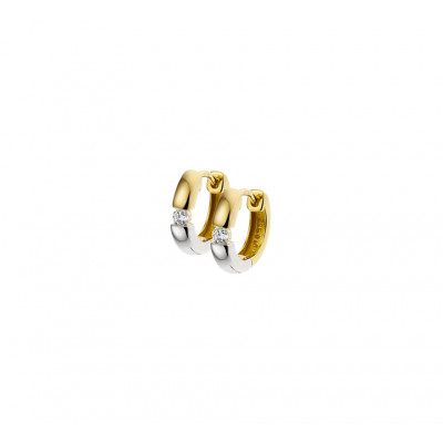 Goud en zilverkleurige klapcreolen met diamant 3 mm