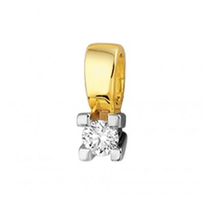 Hippe edelstenen hanger uitgevoerd met diamant bicolor