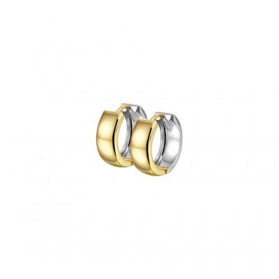Luxe goud en zilverkleurige klapcreolen 5 mm breed
