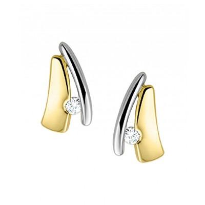 Luxe oorknoppen met diamant van bicolor 9 mm hoog