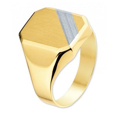 Moderne gouden zegelring met witgouden streep