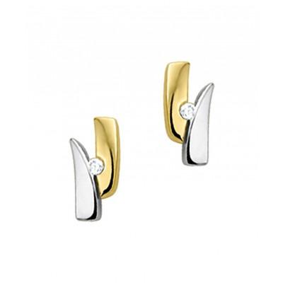 Mooie diamanten oorknoppen van bicolor 8 mm hoog