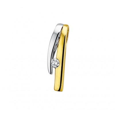 Mooie edelsteen hanger met diamant bicolor