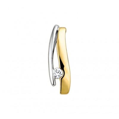Prachtige edelstenen hanger met diamant in het bicolor