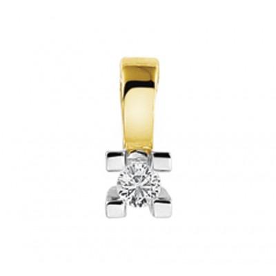 Schitterende edelstenen hanger diamant in het bicolor