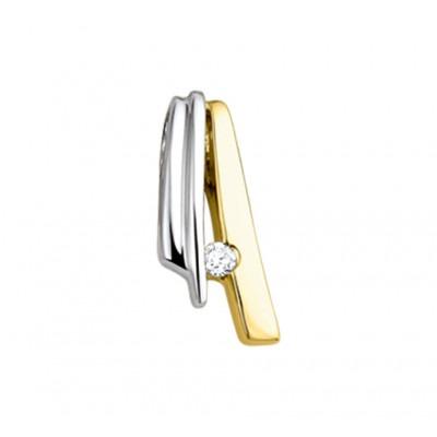 Trendy edelsteen hanger met diamant