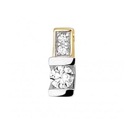 Tweekleurig gouden hanger met diamant