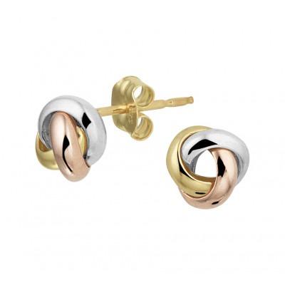 Tricolor gouden oorbellen knoop