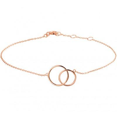Fijn rosé gouden bedelarmband met twee ringetjes