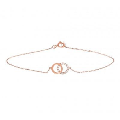Rosé gouden armband met zirkonia ringetjes