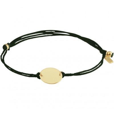 Donkergroene katoenen armband met gouden rondje 13 19 cm