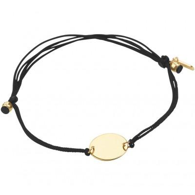 Katoenen armband met gouden rondje 13 19 cm