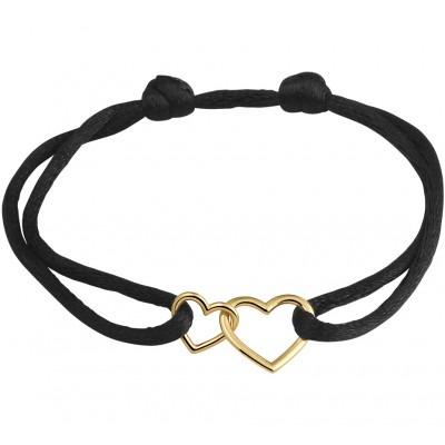 Zwart satijnen armbandje met twee hartjes