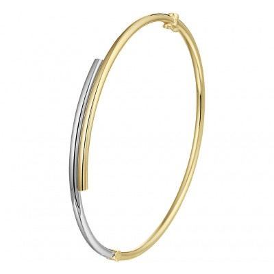 Zilgold bicolor bangle met scharniersluiting 5 x 60 mm