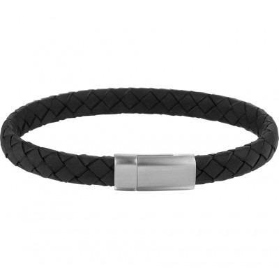 Heren armband zwart smal 21 cm lang