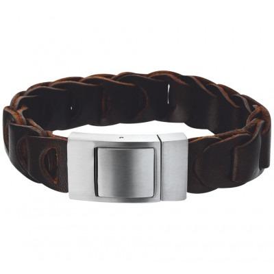 Robuuste bruin leren armband voor heren 21,5 cm