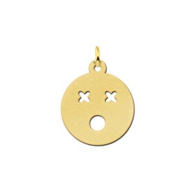 Gouden smiley hanger dood