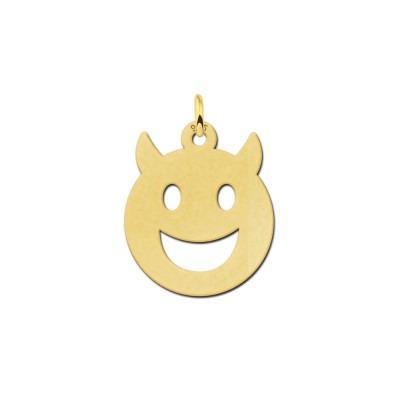 Gouden hanger smiley duiveltje