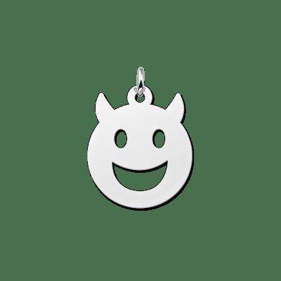 Zilveren smiley hanger duiveltje