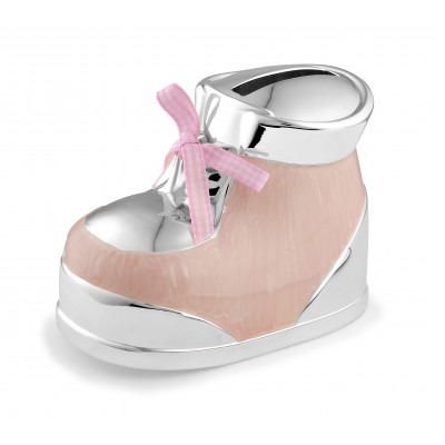 Verzilverde spaarpot roze schoentje