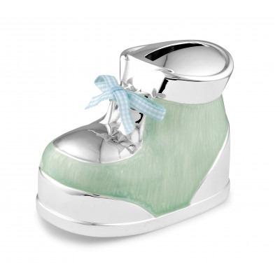 Verzilverde spaarpot blauw/groen schoentje