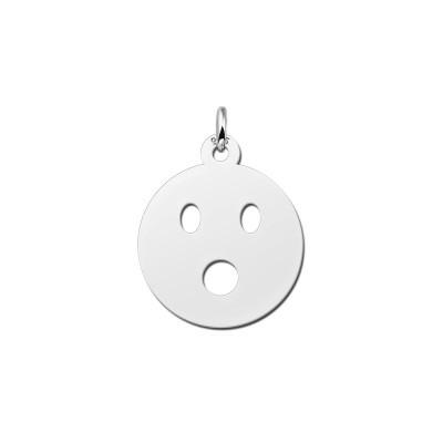 Zilveren emoticon hanger geshockeerd