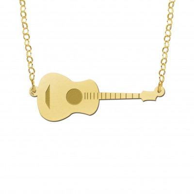 Gouden gitaar inclusief ketting